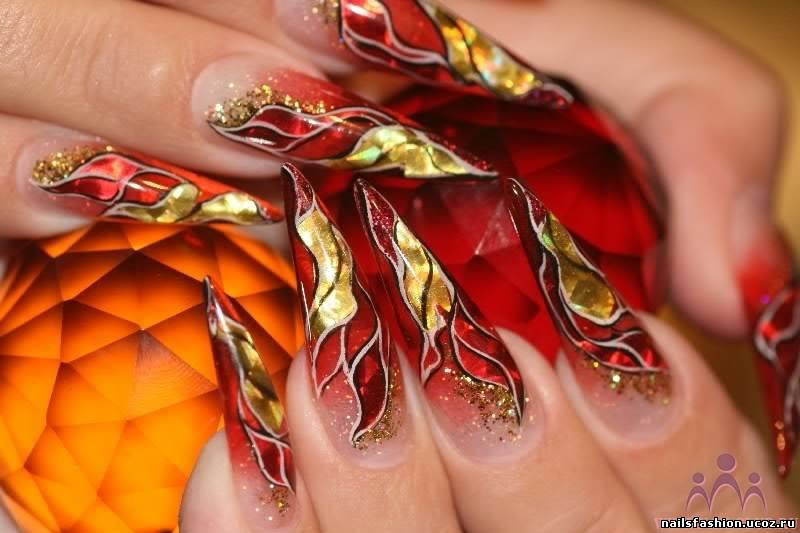 Фото дизайна ногтей витраж