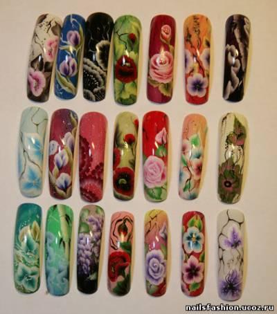 Плоская кисть рисунки на ногтях